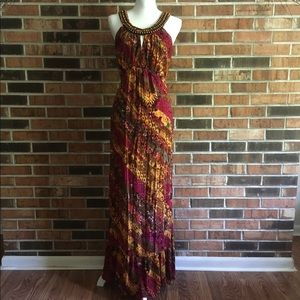 Beaded Ruffle Maxi Dress by New Directions ND 14